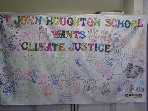 Year 10 students drew around hands and sent their message to the Prime Minister