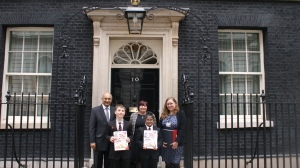 Pupils, teachers and Mr Keith Vaz MP outside No 10