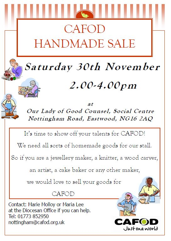 Sale of handmade goods for CAFOD