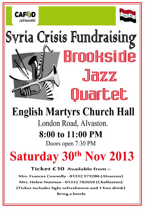 Jazz Evening raising funds for CAFOD's Syria Appeal
