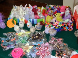 For sale - creme egg chickens and rabbits; hairslides and brooches