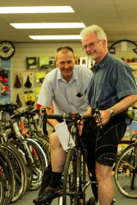 Mike having a bike fit with Paul Bonham at Terry Wright Cylcles, Market Deeping
