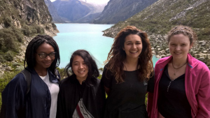 Bea (second right) and fellow gap year volunteers at Lake Parón in Peru
